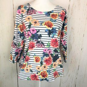 LANDS END Striped Flowers 3/4 Sleeve Striped Top